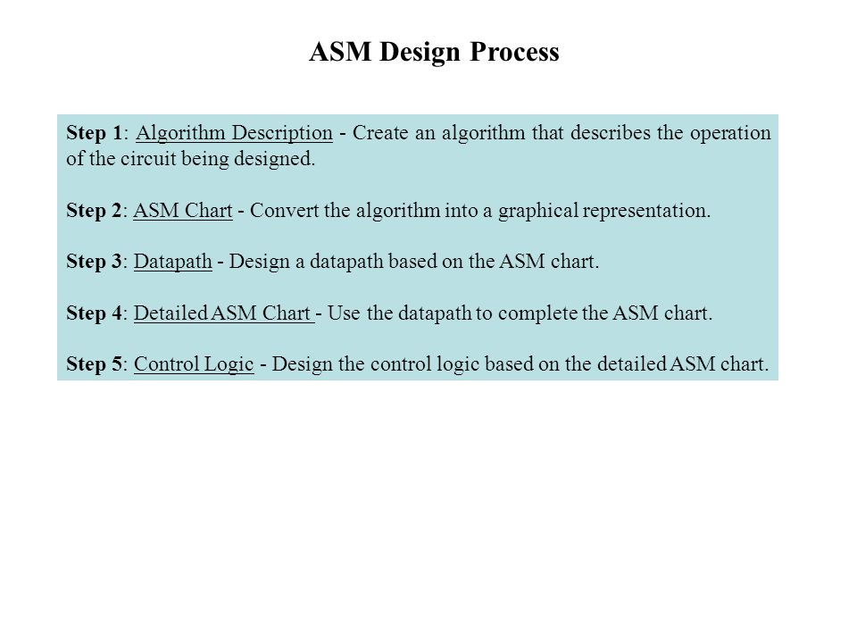 Step 1: Algorithm Description - Create an algorithm that describes the operation of the circuit being designed. Step 2: ASM Chart - Convert the algori