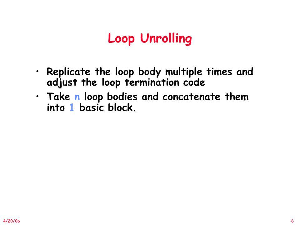 37 4/20/06 Loop Unrolling in VLIW Memory MemoryFPFPInt.