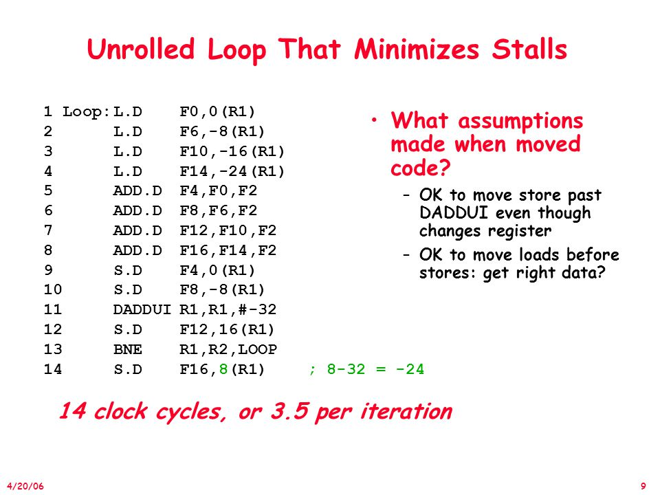 20 4/20/06 Detect and Enhance LLP Loop-level parallelism (ILP) –Analyzed at the source or close to it –Most analysis is done once instructions have been generated Loop-level analysis –Determine what dependences exist among the operands in a loop across the iterations of that loop –Determine whether data accesses in later iterations are dependent on data values produced in earlier iterations »Such dependence is called a loop-carried dependence (LCD) »LCD forces successive loop iterations to execute in series –Finding loop-level parallelism involves recognizing structures such as loops, array references, and induction variable computations »The compiler can do this analysis more easily at or near the source level