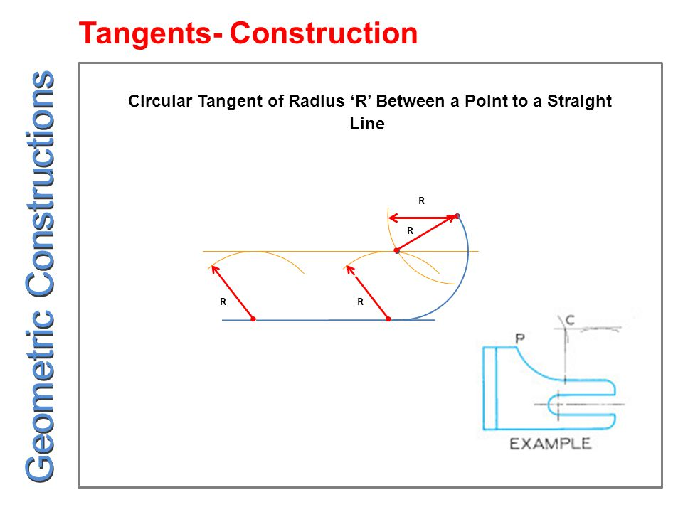 R R R R Circular Tangent of Radius 'R' Between a Point to a Straight Line Geometric Constructions Tangents- Construction