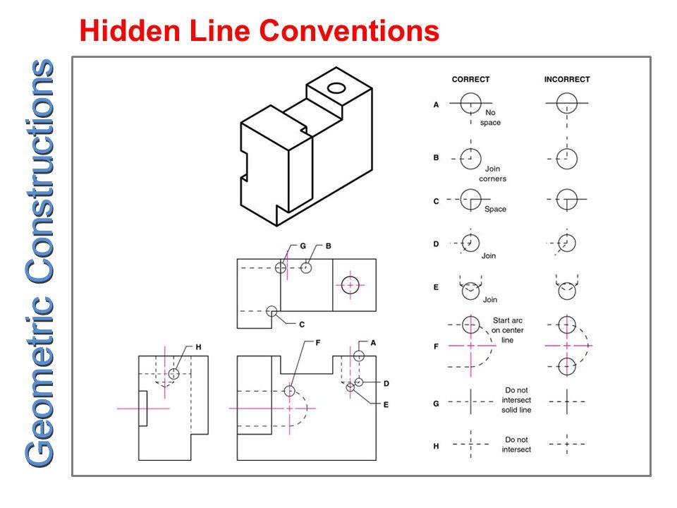 Hidden Line Conventions Geometric Constructions