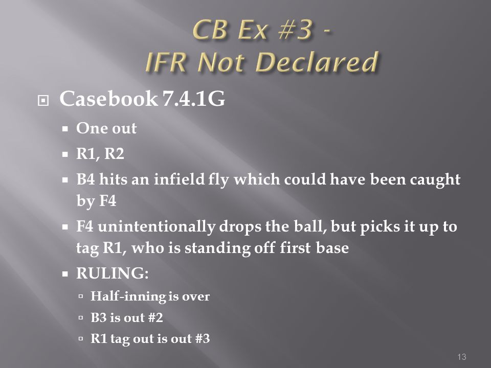  Casebook 7.4.1G  One out  R1, R2  B4 hits an infield fly which could have been caught by F4  F4 unintentionally drops the ball, but picks it up