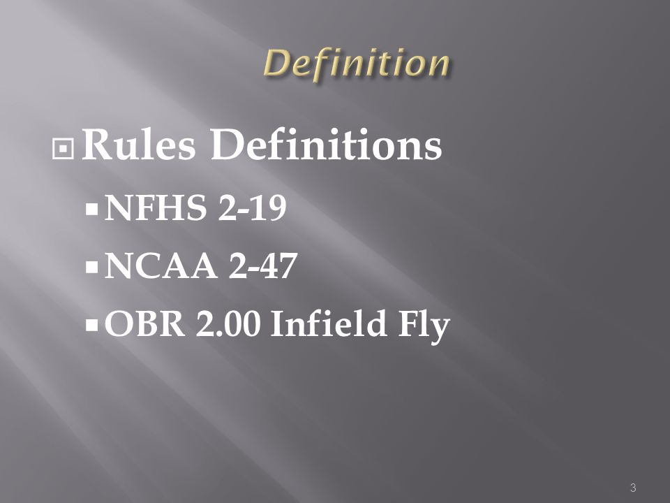  Rules Definitions  NFHS 2-19  NCAA 2-47  OBR 2.00 Infield Fly 3