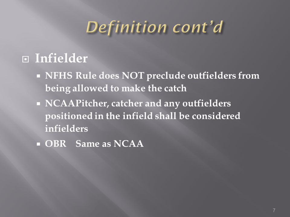  Infielder  NFHSRule does NOT preclude outfielders from being allowed to make the catch  NCAAPitcher, catcher and any outfielders positioned in the infield shall be considered infielders  OBRSame as NCAA 7
