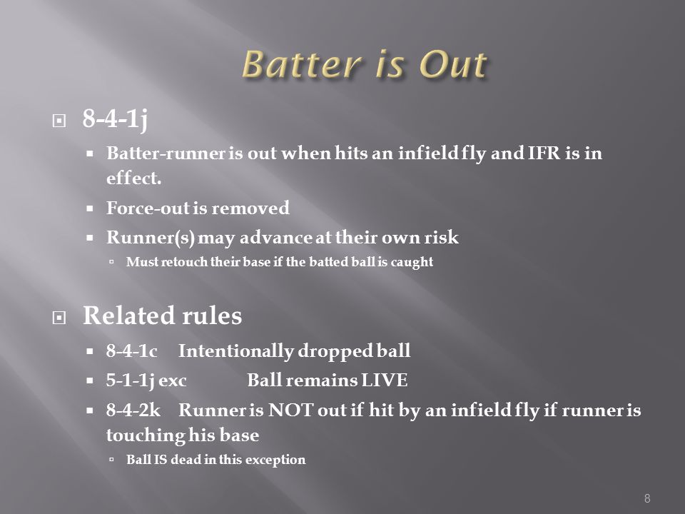  8-4-1j  Batter-runner is out when hits an infield fly and IFR is in effect.