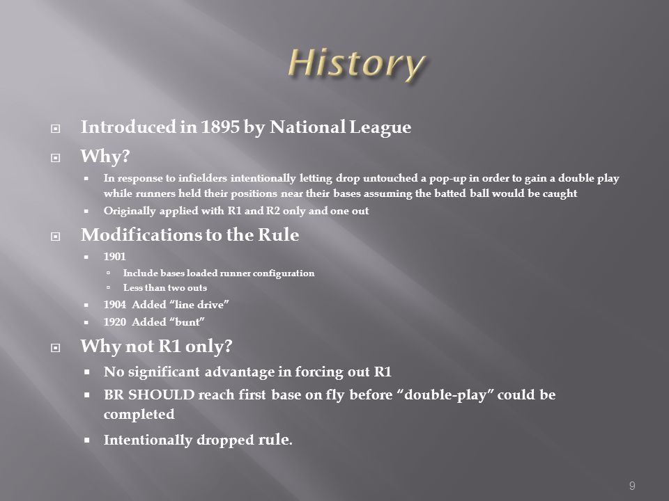  Introduced in 1895 by National League  Why.