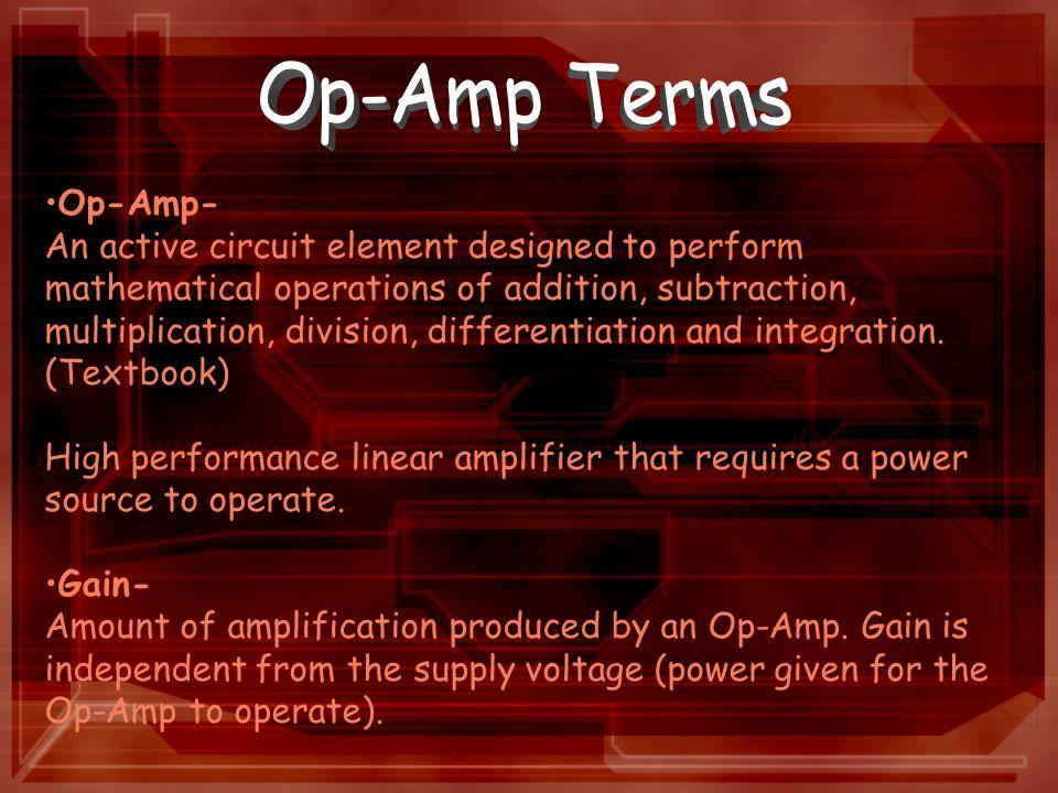 Open-Loop Mode- Function of an Op-Amp when the feedback resistor (R f ) is zero.