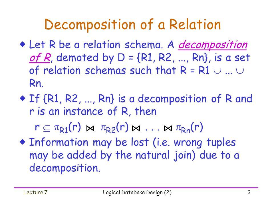 Lecture 7Logical Database Design (2)14 TestDP: An example Consider F = {A  B, B  C, C  D, D  A } over R(A, B, C, D), & D = {R1(A,B), R2(B,C), R3(C,D)}.