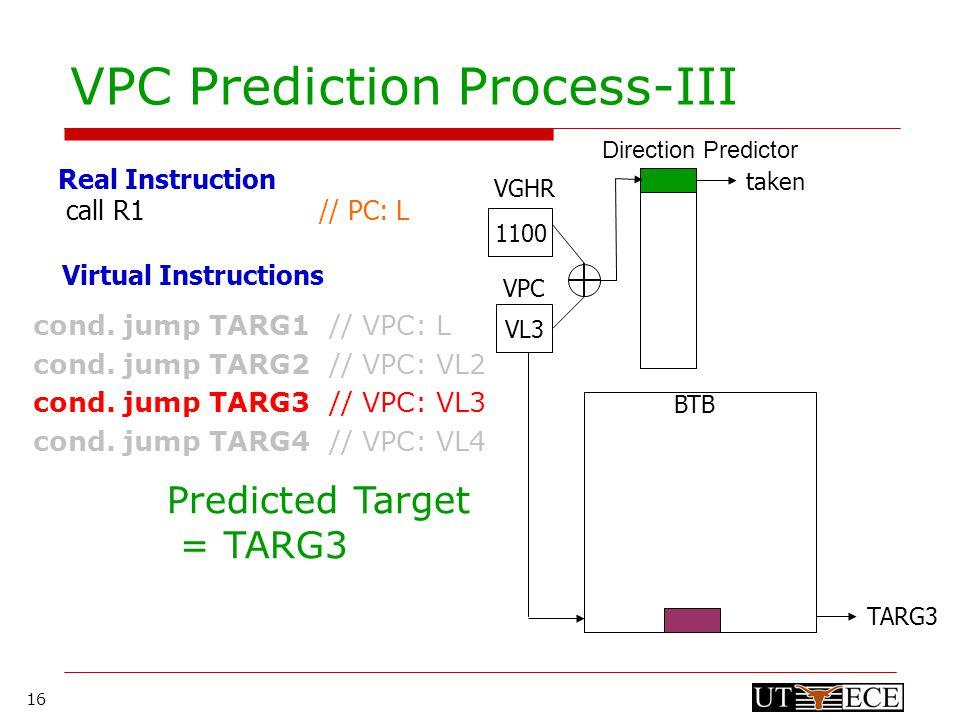 16 VPC Prediction Process-III cond. jump TARG1 // VPC: L cond.