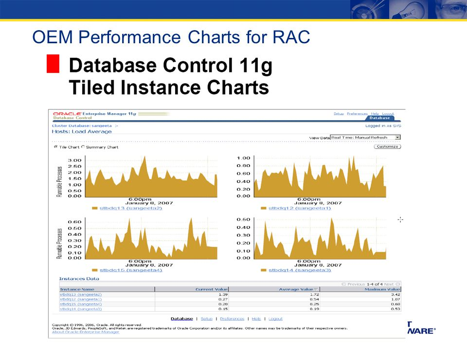 OEM Performance Charts for RAC