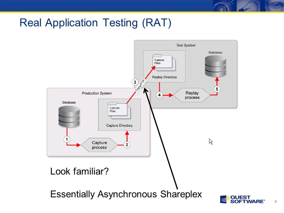 Real Application Testing (RAT) 6 Look familiar? Essentially Asynchronous Shareplex