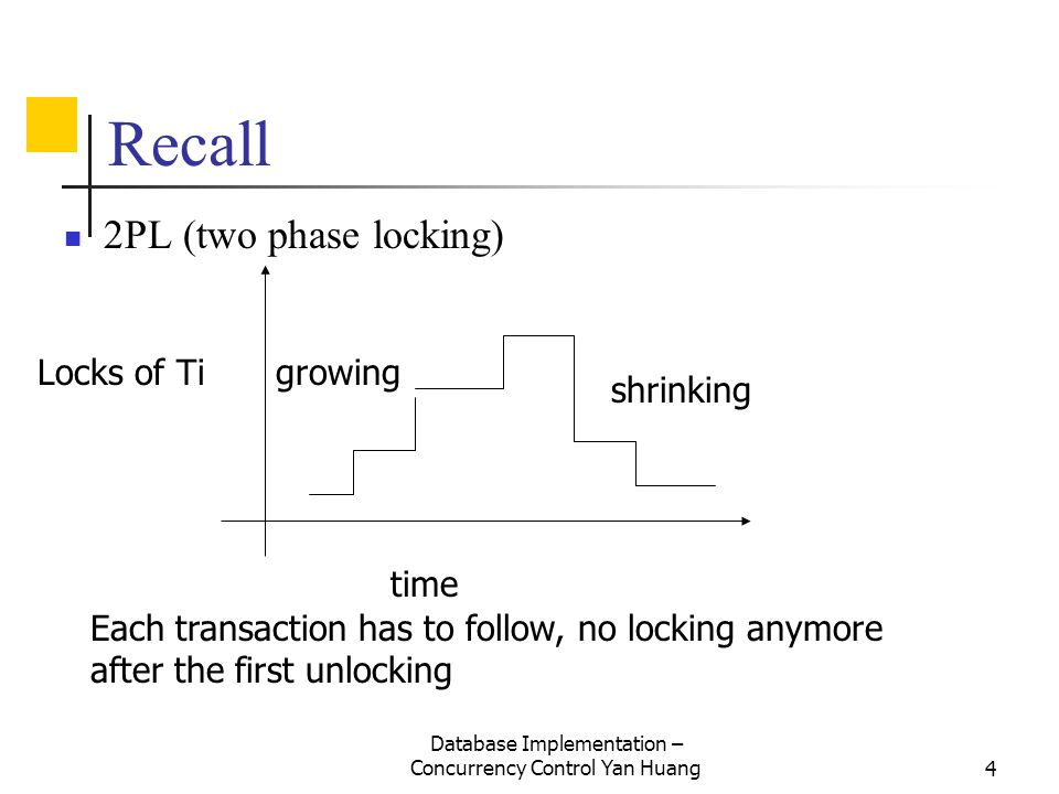 Database Implementation – Concurrency Control Yan Huang25 Timeout If transaction waits more than L sec., roll it back.