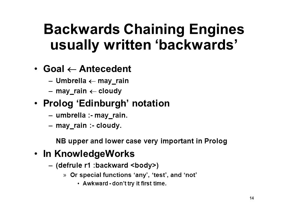 14 Backwards Chaining Engines usually written 'backwards' Goal  Antecedent –Umbrella  may_rain –may_rain  cloudy Prolog 'Edinburgh' notation –umbrella :- may_rain.