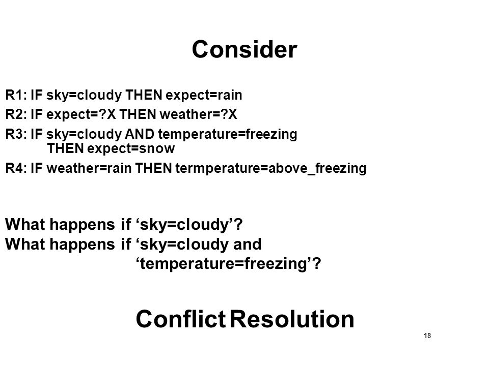 18 Consider R1: IF sky=cloudy THEN expect=rain R2: IF expect= X THEN weather= X R3: IF sky=cloudy AND temperature=freezing THEN expect=snow R4: IF weather=rain THEN termperature=above_freezing What happens if 'sky=cloudy'.