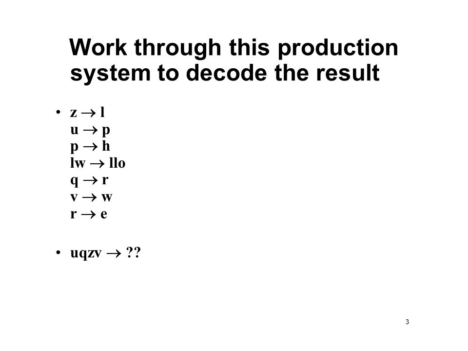 3 Work through this production system to decode the result z  l u  p p  h lw  llo q  r v  w r  e uqzv 