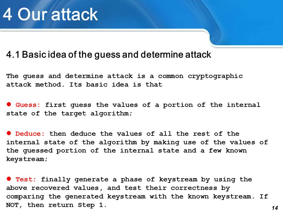14 4 Our attack 4.1 Basic idea of the guess and determine attack The guess and determine attack is a common cryptographic attack method.