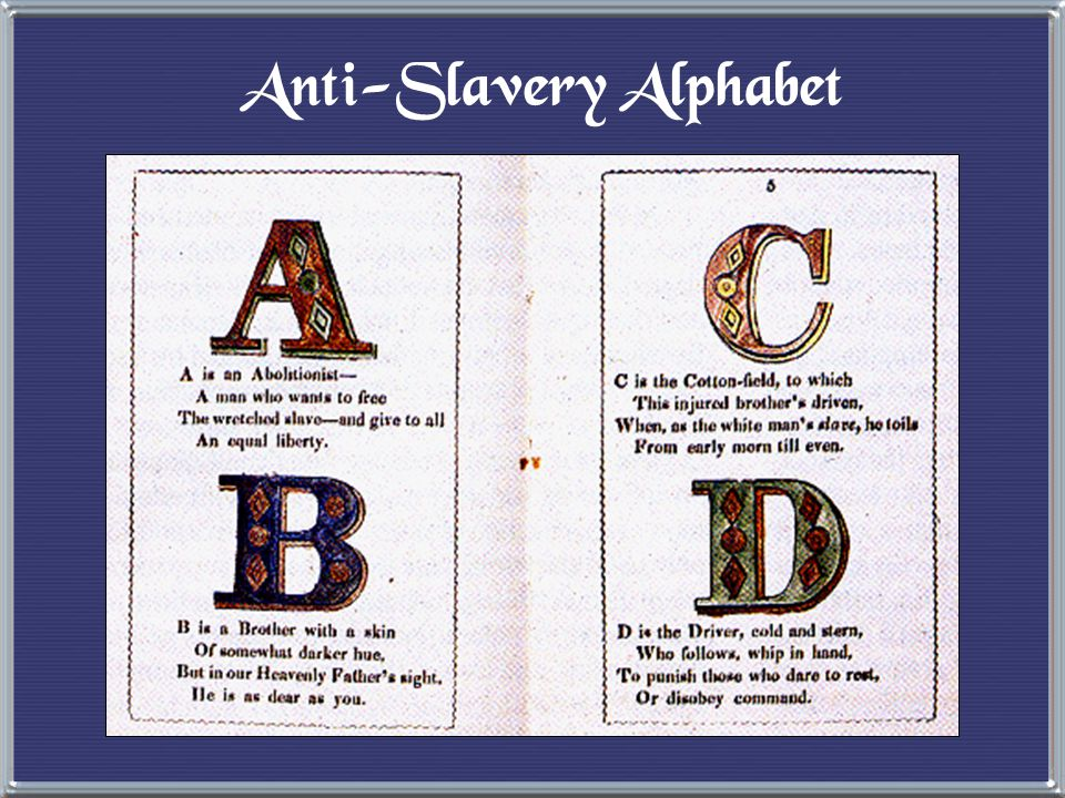 Abolitionist Movement e Create a free slave state in Liberia, West Africa. e No real anti-slavery sentiment in the North in the 1820s & 1830s. Gradual