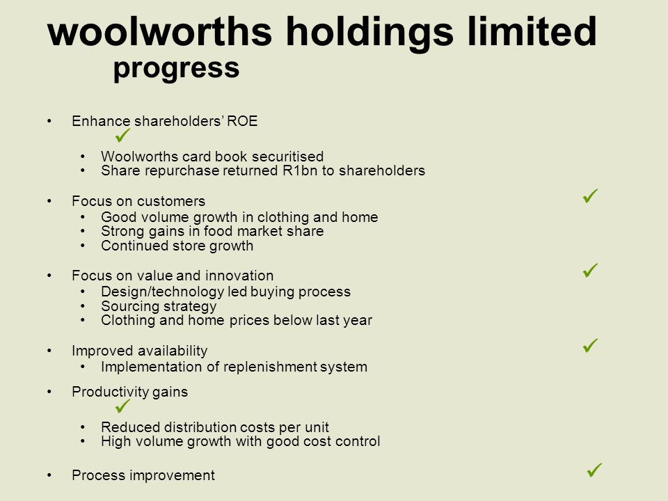 woolworths retail results income statement (excluding financial services) *Prior year figures restated *