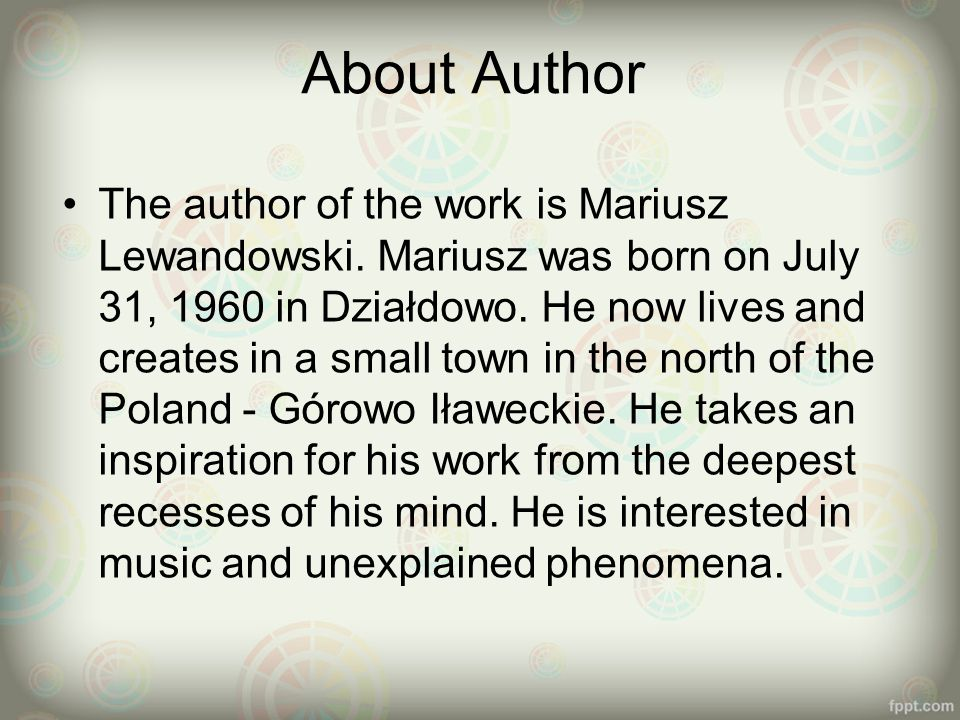 About Author The author of the work is Mariusz Lewandowski.