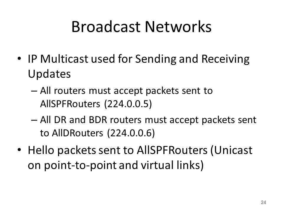 Broadcast Networks IP Multicast used for Sending and Receiving Updates – All routers must accept packets sent to AllSPFRouters (224.0.0.5) – All DR an