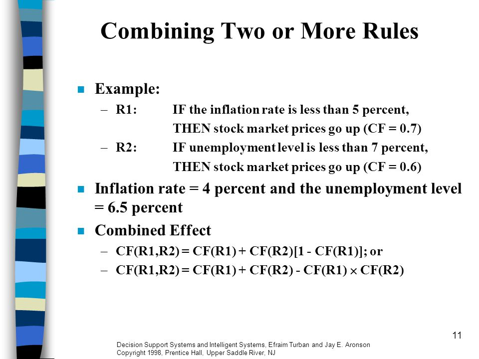 11 Combining Two or More Rules Example: –R1:IF the inflation rate is less than 5 percent, THEN stock market prices go up (CF = 0.7) –R2:IF unemployment level is less than 7 percent, THEN stock market prices go up (CF = 0.6) Inflation rate = 4 percent and the unemployment level = 6.5 percent Combined Effect –CF(R1,R2) = CF(R1) + CF(R2)[1 - CF(R1)]; or –CF(R1,R2) = CF(R1) + CF(R2) - CF(R1)  CF(R2) Decision Support Systems and Intelligent Systems, Efraim Turban and Jay E.