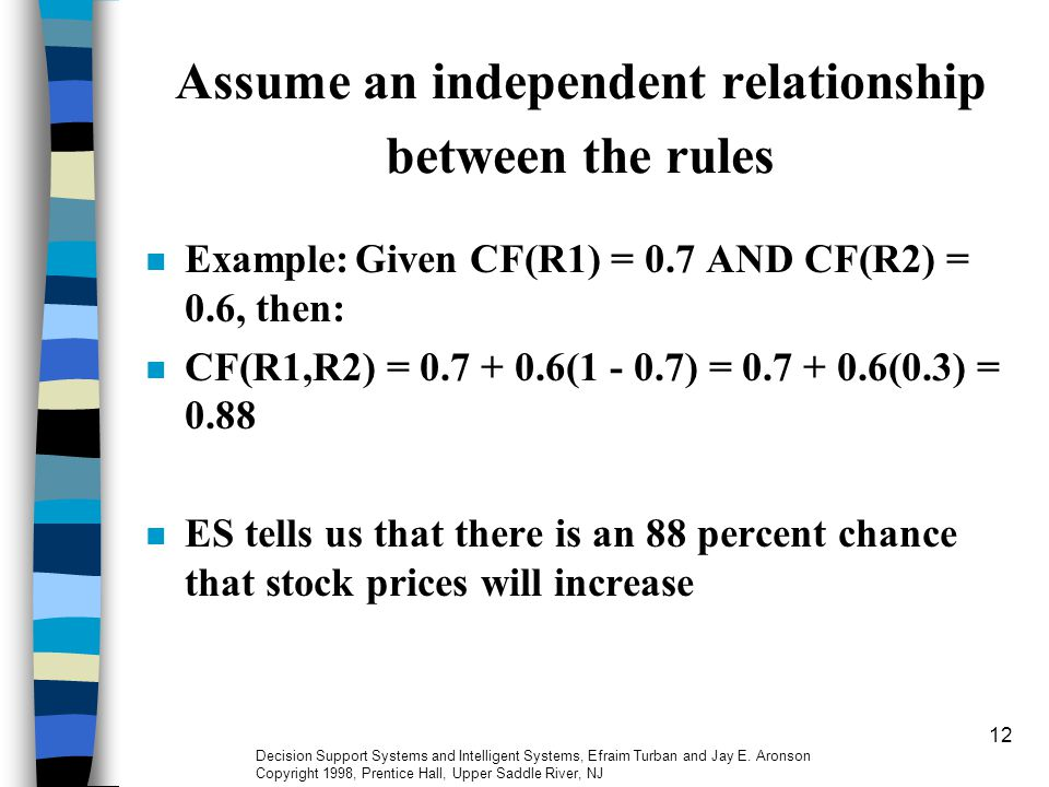 12 Assume an independent relationship between the rules Example:Given CF(R1) = 0.7 AND CF(R2) = 0.6, then: CF(R1,R2) = 0.7 + 0.6(1 - 0.7) = 0.7 + 0.6(0.3) = 0.88 ES tells us that there is an 88 percent chance that stock prices will increase Decision Support Systems and Intelligent Systems, Efraim Turban and Jay E.