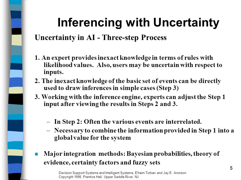 5 Inferencing with Uncertainty Uncertainty in AI - Three-step Process 1.