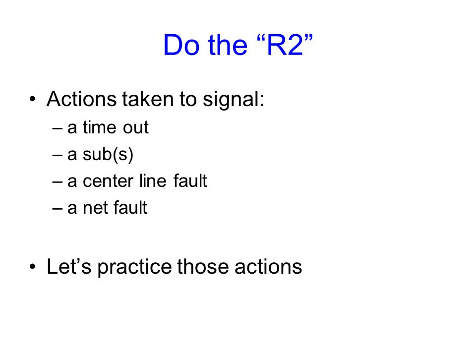 R2 duties The R2's prime roles, supporting all three principles, are: Check lineups to start match –OK's libero to enter Call faults –center line faults, net faults, ball touching antenna or touching anything off the court, including net outside antenna.