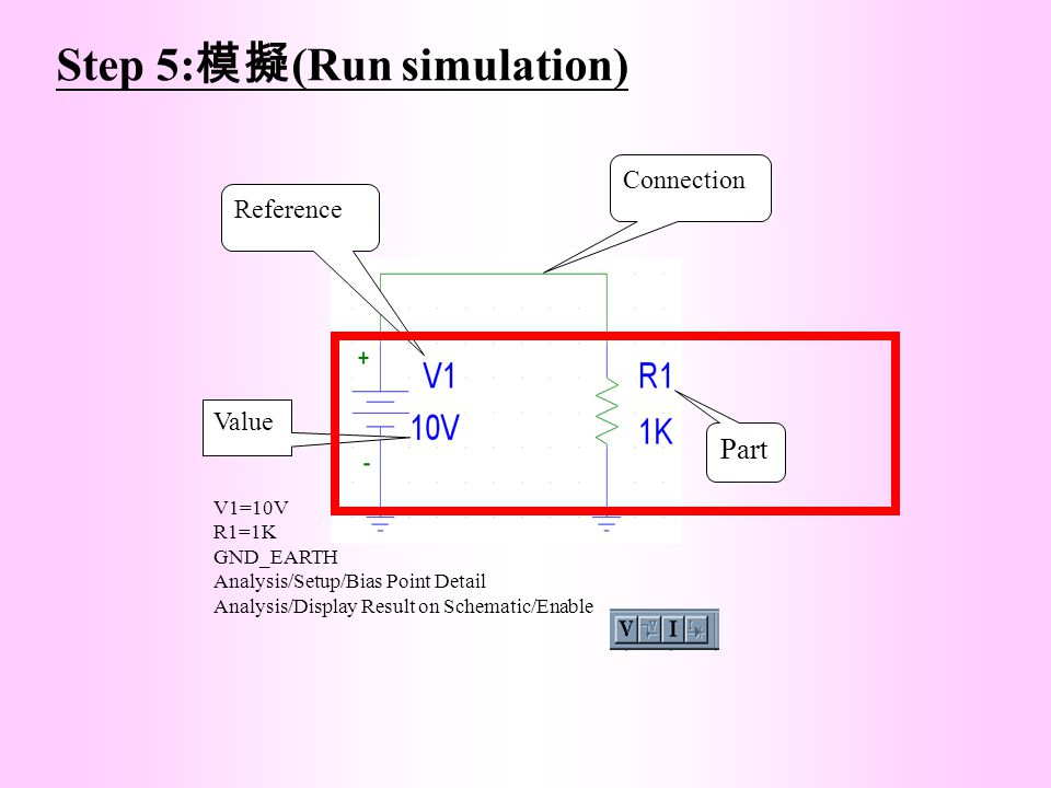 Step 5: 模擬 (Run simulation) Part Connection Reference Value V1=10V R1=1K GND_EARTH Analysis/Setup/Bias Point Detail Analysis/Display Result on Schemat