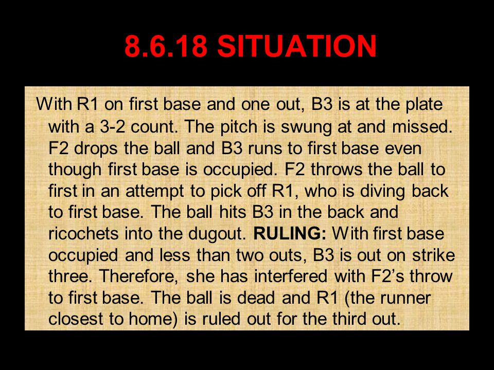 8.6.18 8.6.18 SITUATION SITUATION With R1 on first base and one out, B3 is at the plate with a 3-2 count.