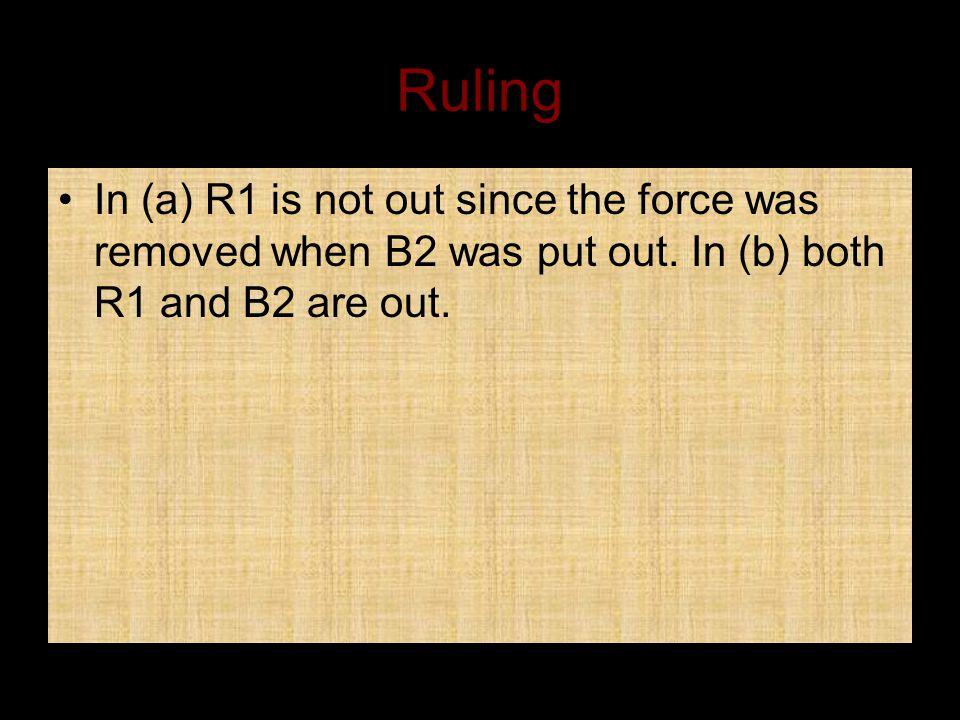 Ruling In (a) R1 is not out since the force was removed when B2 was put out.