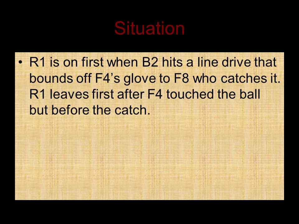 Situation R1 is on first when B2 hits a line drive that bounds off F4's glove to F8 who catches it.