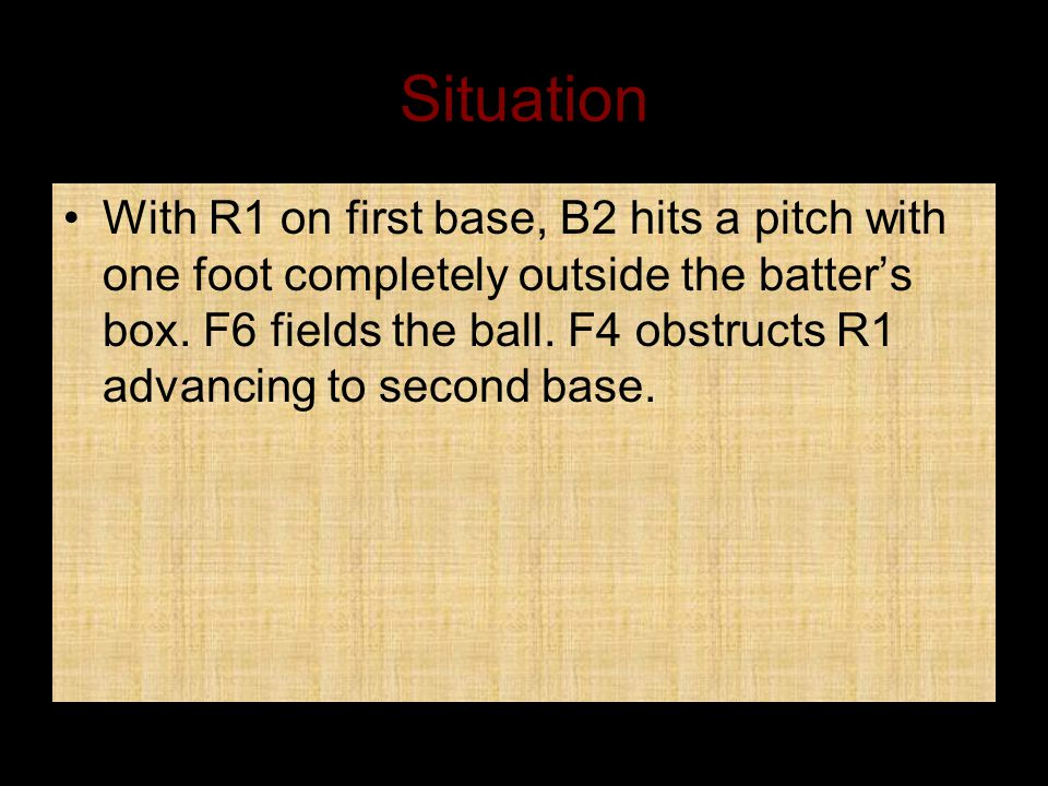 Situation With R1 on first base, B2 hits a pitch with one foot completely outside the batter's box.