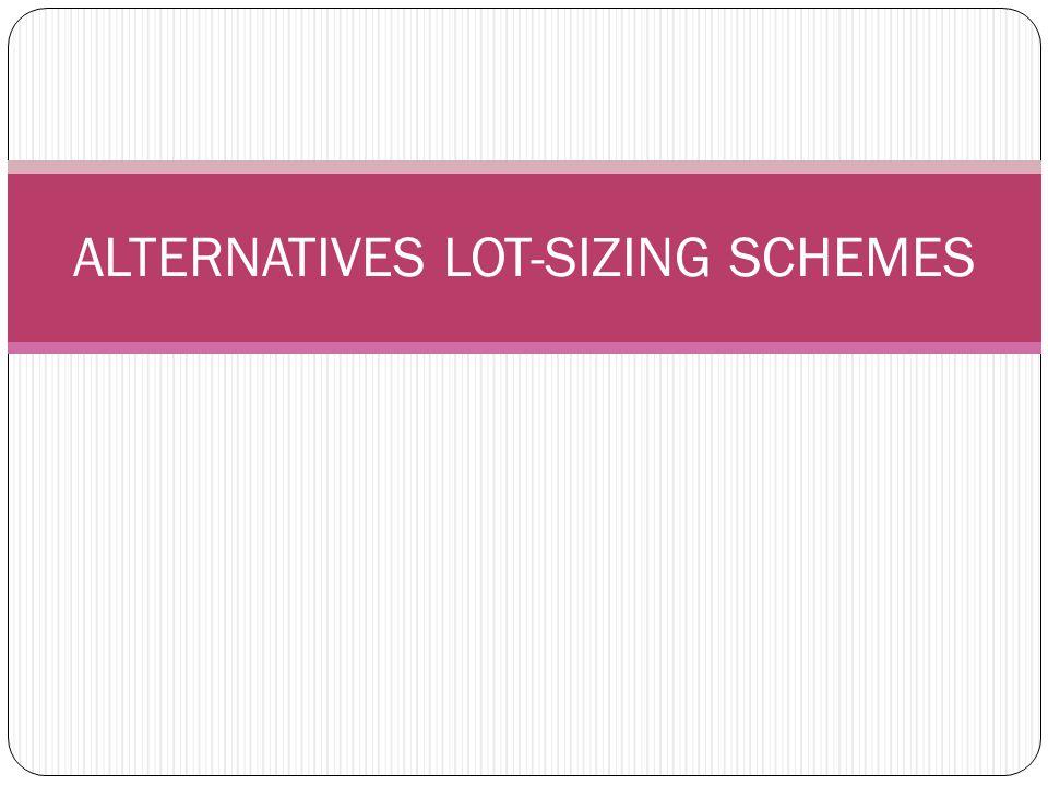 ALTERNATIVES LOT-SIZING SCHEMES
