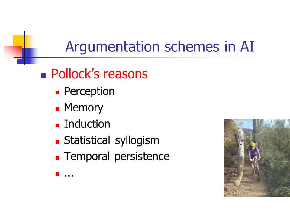 Argumentation schemes in AI Pollock's reasons Perception Memory Induction Statistical syllogism Temporal persistence...