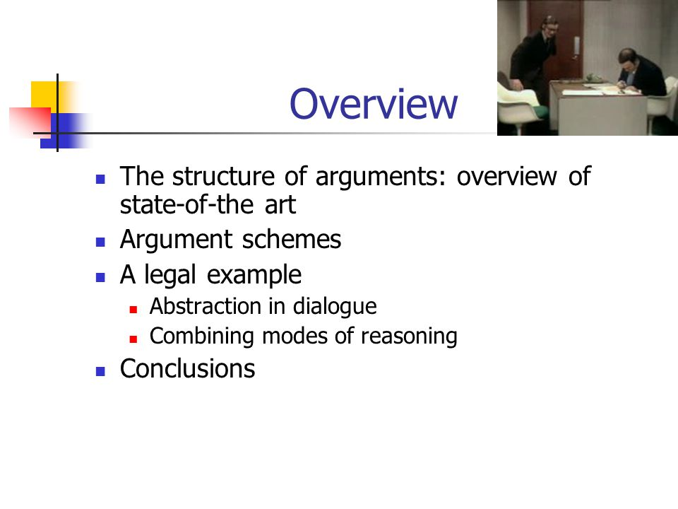 The structure of arguments: current accounts Assumption-based approaches T = theory A = assumptions, - is conflict relation on A R = inference rules A1  A yields an argument for p if A1  T |- R p A2 for q attacks A1 if q - a for some a  A1 Inference-rule approaches T = theory R = inference rules,  is conflict relation on R T1  T yields an argument for p if T1|- R p T'2 attacks T1 if T1 applies r1 and T2 applies r2 and r2  r1