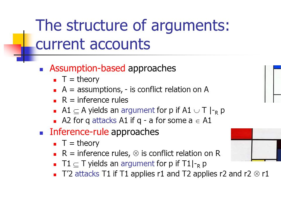 The structure of arguments: An integrated view Arguments have: Premises Of various types A conclusion Ways to get from premises to conclusion Of various types So arguments can be attacked on: Their premises Some types excluded Their conclusion The connection between premises and conclusion Some types excluded