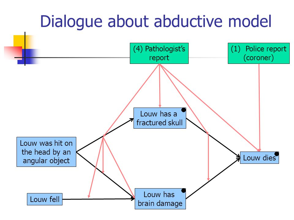Dialogue about abductive model Louw has a fractured skull Louw has brain damage Louw dies Louw was hit on the head by an angular object Louw fell (4)