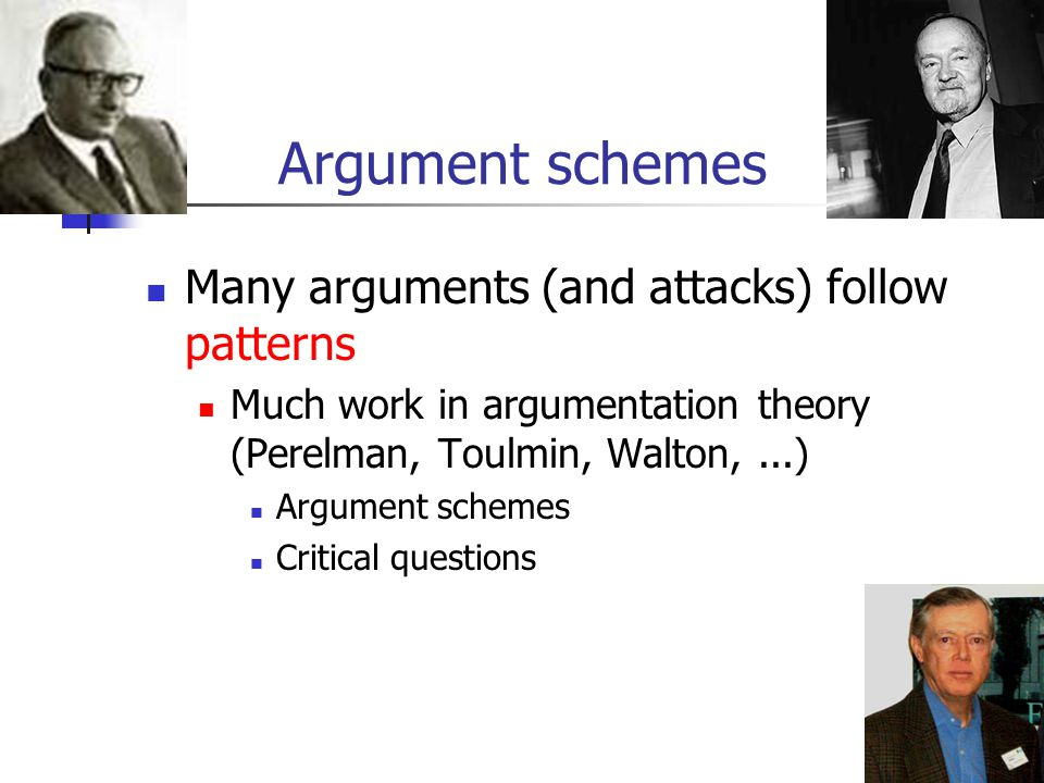 Argument schemes Many arguments (and attacks) follow patterns Much work in argumentation theory (Perelman, Toulmin, Walton,...) Argument schemes Criti