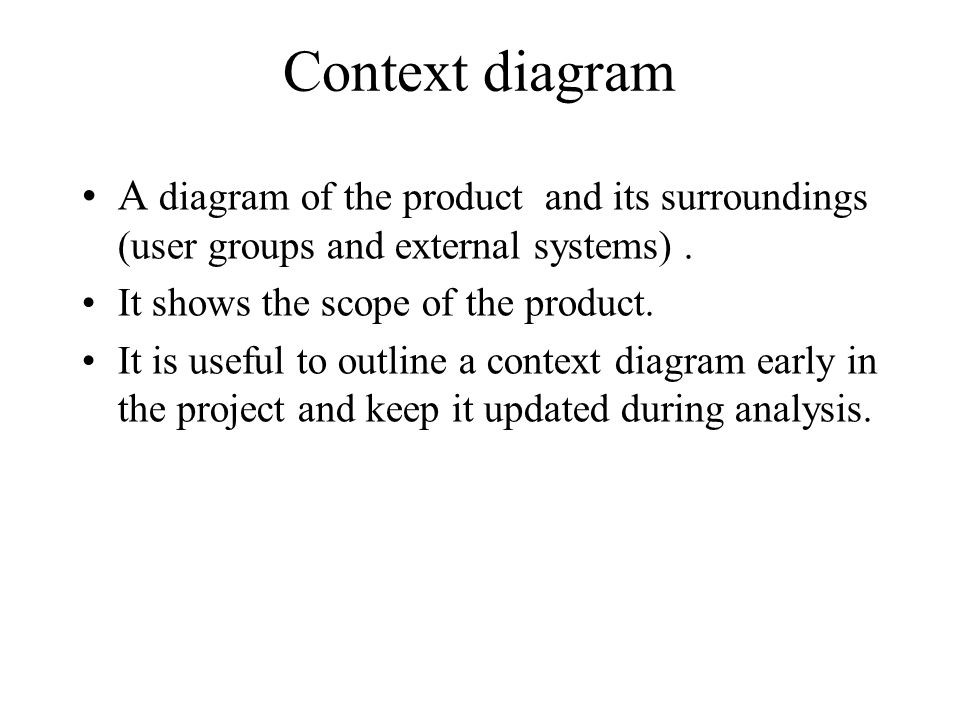 Context diagram A diagram of the product and its surroundings (user groups and external systems). It shows the scope of the product. It is useful to o