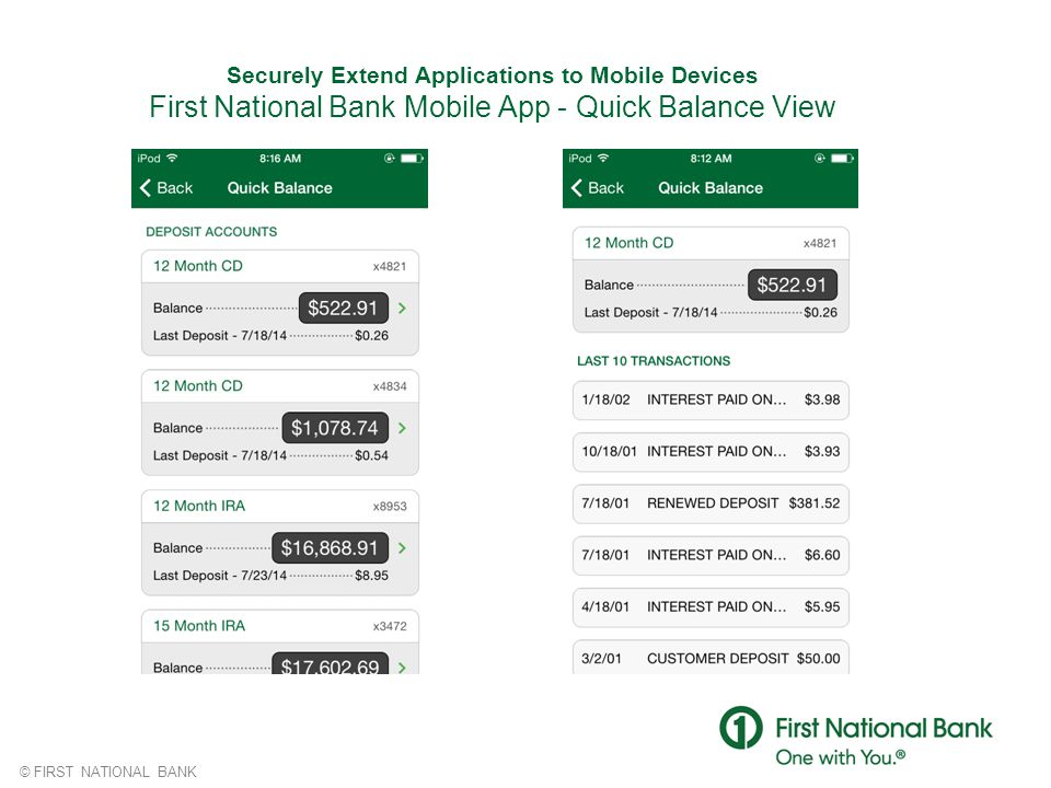 © FIRST NATIONAL BANK Securely Extend Applications to Mobile Devices First National Bank Mobile App - Quick Balance View