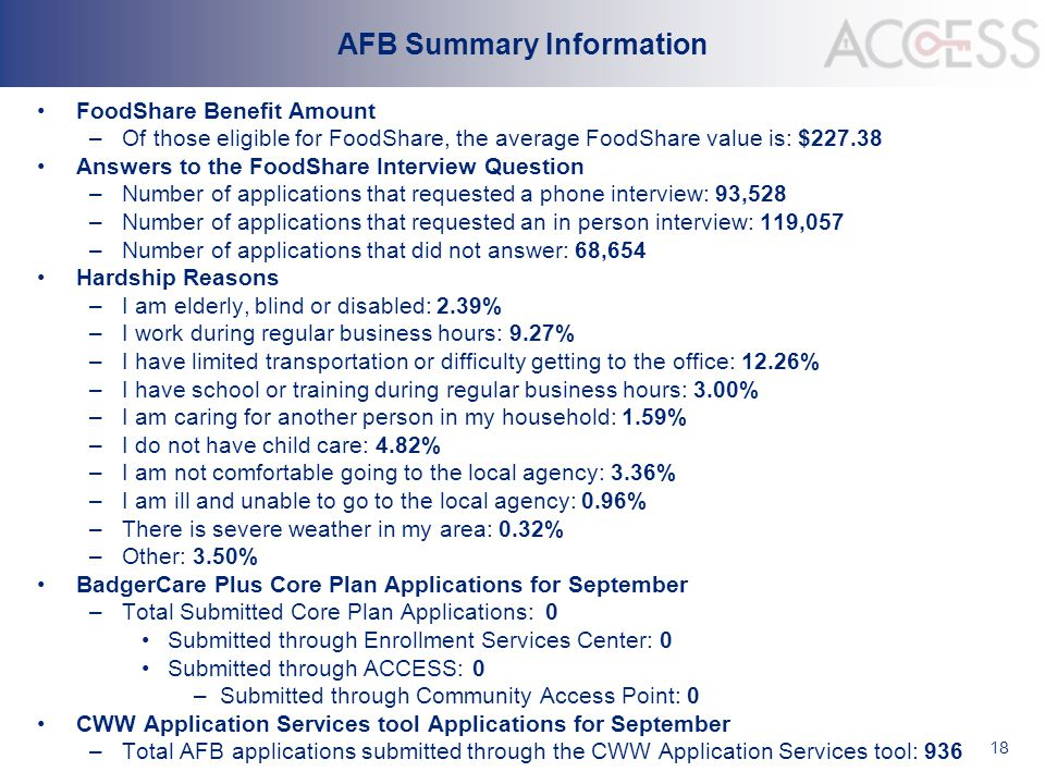 18 AFB Summary Information FoodShare Benefit Amount –Of those eligible for FoodShare, the average FoodShare value is: $227.38 Answers to the FoodShare