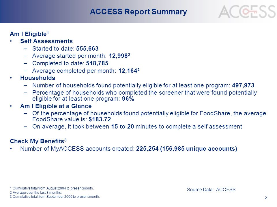 2 ACCESS Report Summary Am I Eligible 1 Self Assessments –Started to date: 555,663 –Average started per month: 12,998 2 –Completed to date: 518,785 –A