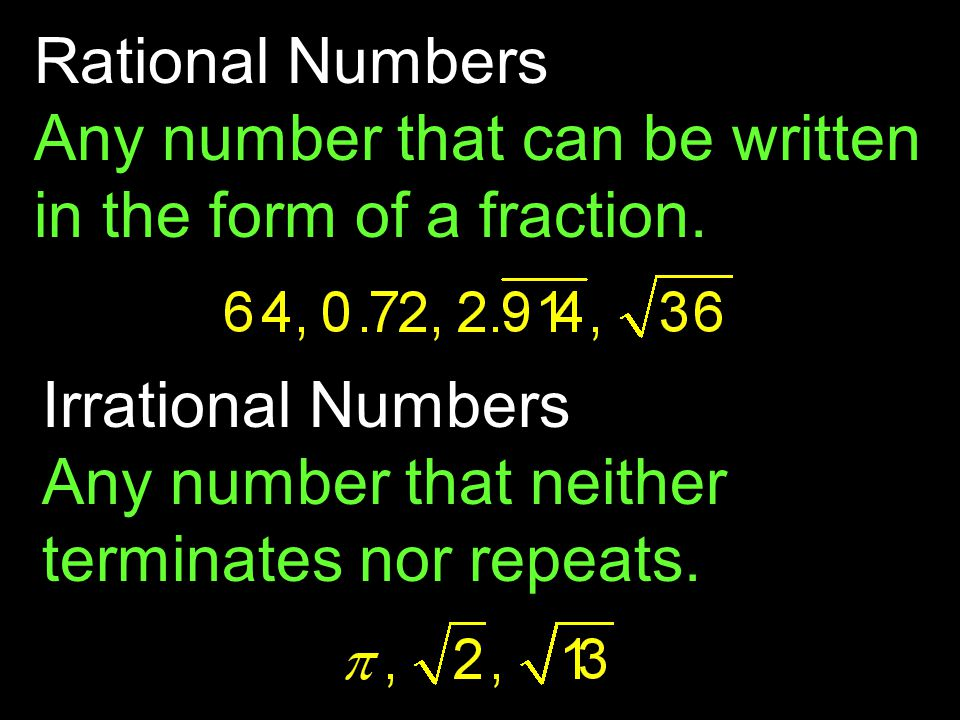 Rational Numbers Any number that can be written in the form of a fraction.