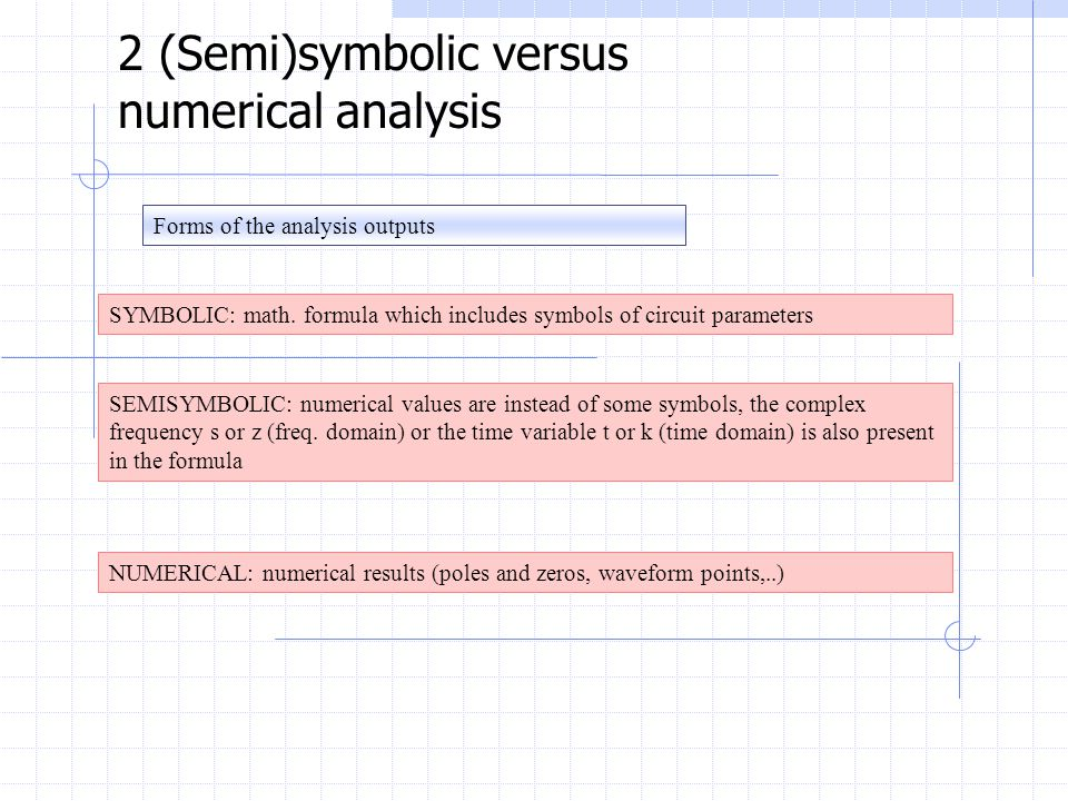 Forms of the analysis outputs 2 (Semi)symbolic versus numerical analysis SYMBOLIC: math.