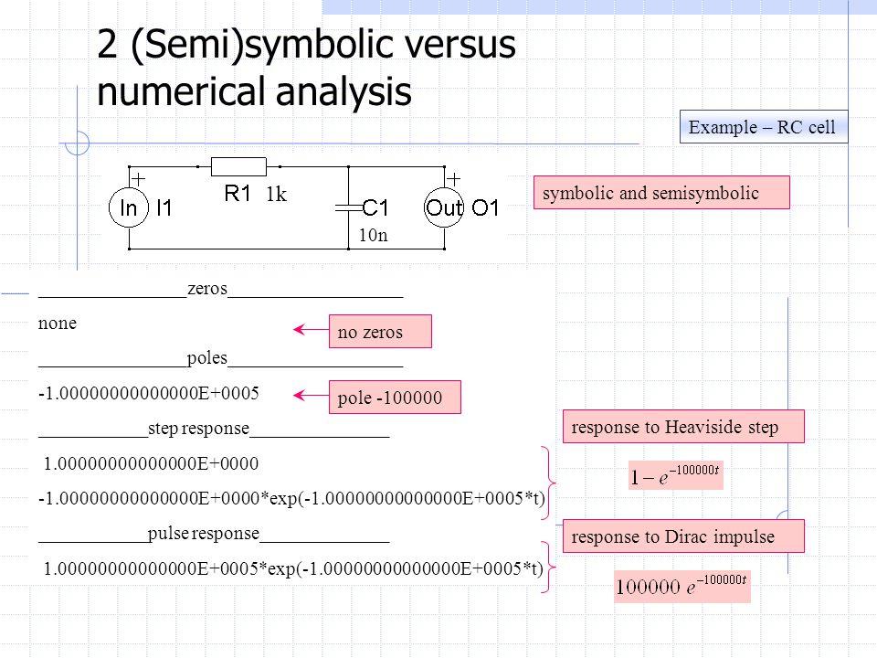 Example – RC cell 2 (Semi)symbolic versus numerical analysis symbolic and semisymbolic 1k 10n _______________zeros__________________ none _______________poles__________________ -1.00000000000000E+0005 ___________step response______________ 1.00000000000000E+0000 -1.00000000000000E+0000*exp(-1.00000000000000E+0005*t) ___________pulse response_____________ 1.00000000000000E+0005*exp(-1.00000000000000E+0005*t) response to Heaviside step no zeros pole -100000 response to Dirac impulse