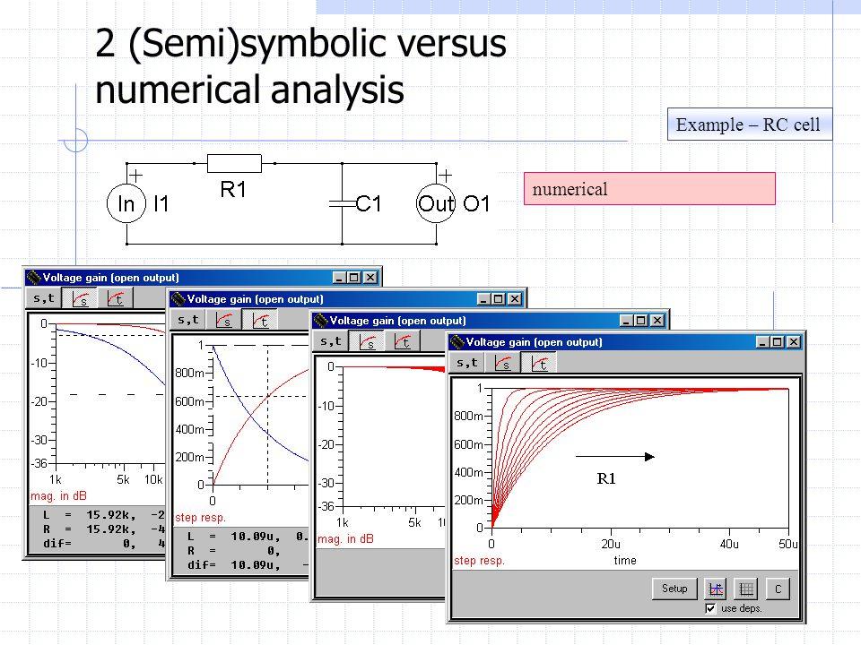 Example – RC cell 2 (Semi)symbolic versus numerical analysis numerical