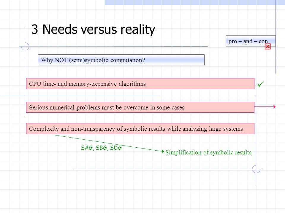 Why NOT (semi)symbolic computation? 3 Needs versus reality CPU time- and memory-expensive algorithms Serious numerical problems must be overcome in so