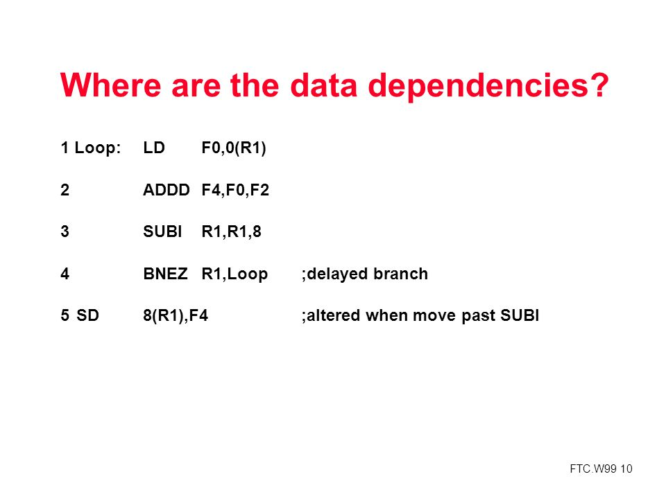 FTC.W99 10 Where are the data dependencies.