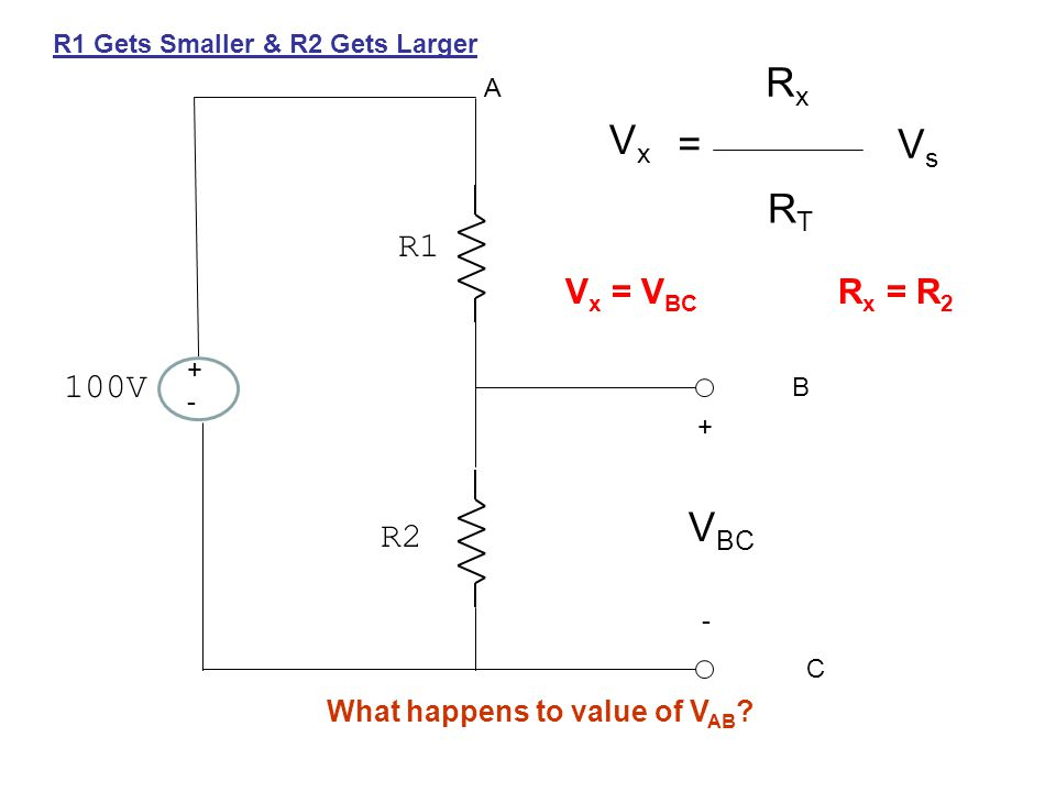 +-+- 100V R1 R2 + - A B C V BC VxVx = RxRx RTRT VsVs V x = V BC R x = R 2 R1 Gets Smaller & R2 Gets Larger What happens to value of V AB